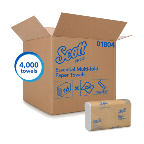 Kimberly Clark KC-01804 Multifold White Scott Premium Paper Towel, 250 sheets per pack, 16 packs per case