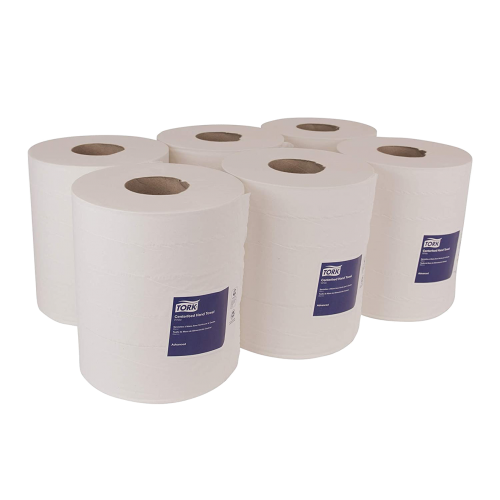 Tork 121201 Soft Centerfeed C-Pull White 600 sheets x 6 rolls in a case