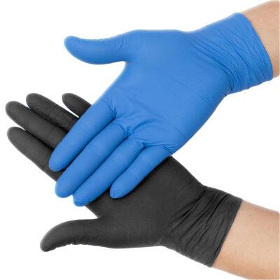 Black and Blue nitrile gloves