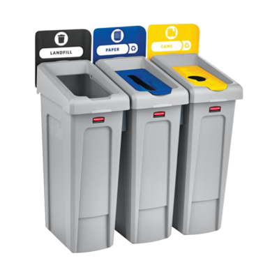 Rubbermaid Slim Jim Disposal Station Garbage Bins